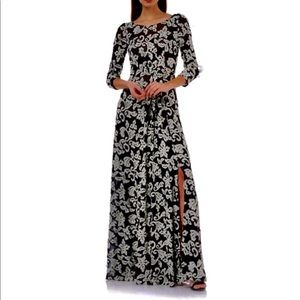 JS Collections Embroidered Mesh Gown Sz 8 NWT